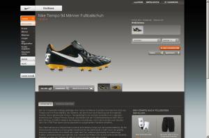 Screenshot Nike Tiempo Shop