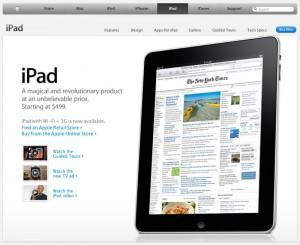 Das iPad, Apples neustes Kult-Gadget - Screenshot von apple.com