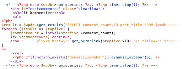 Vorher: Codestrecke welche zu 7 SQL abfragen führte