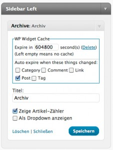 Wordpress Widget Cache