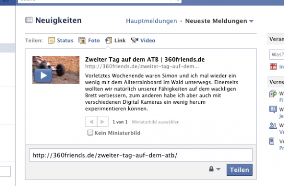 Facebook Share mit Play-Button