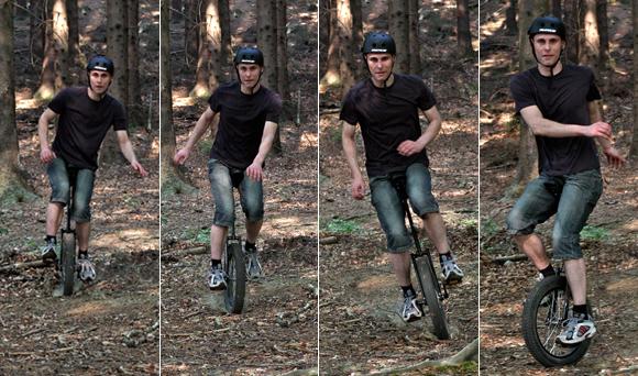 Tobi auf dem Offroad Einrad (Cross Einrad)