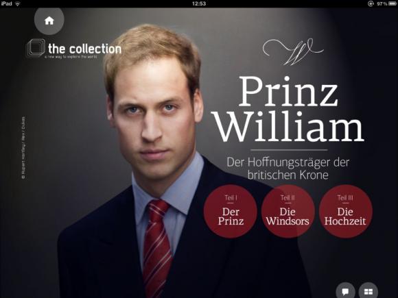 "iPad Appazine ""The Collection"", 1.Ausgabe: Prinz William"