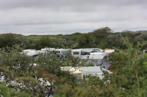 Der Campingplatz ist von Bäumen und Sträuchern umschlossen und grenzt an die Dünen