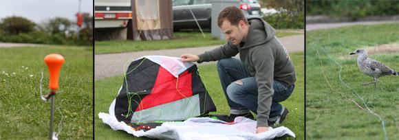 Vorbereitung des Dakota Kite, um sich mit dem Sportgerät vertraut zu machen