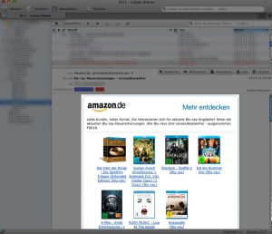 Amazon Newsletter (hell) im Thunderbird (ausgegraut)