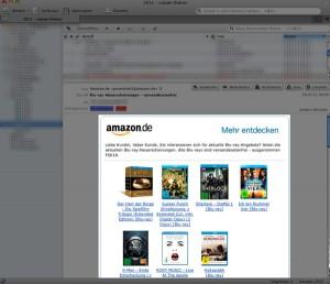 Amazon Newsletter (hell) im Thunderbird (ausgegraut)