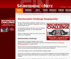 Nischenwebseiten-Aktion auf Selbständig im Netz