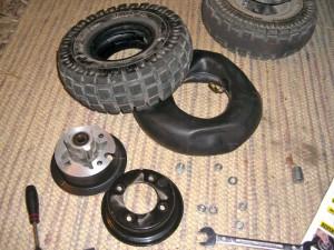 Einzelteile des Reifenwechsel
