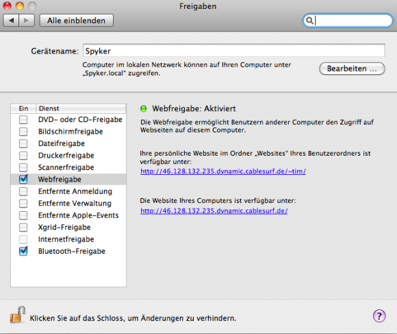 OS X Webfreigabe aktivieren