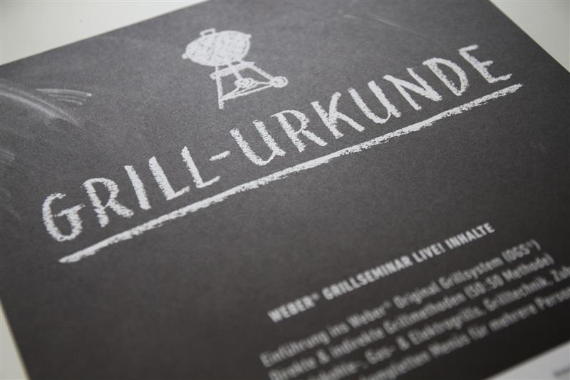 Grill-Urkunde vom Weber Grillseminar