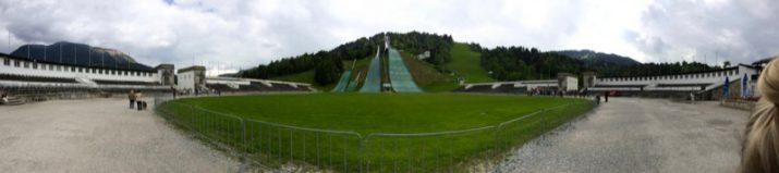 Blick auf die Skisprungschanze